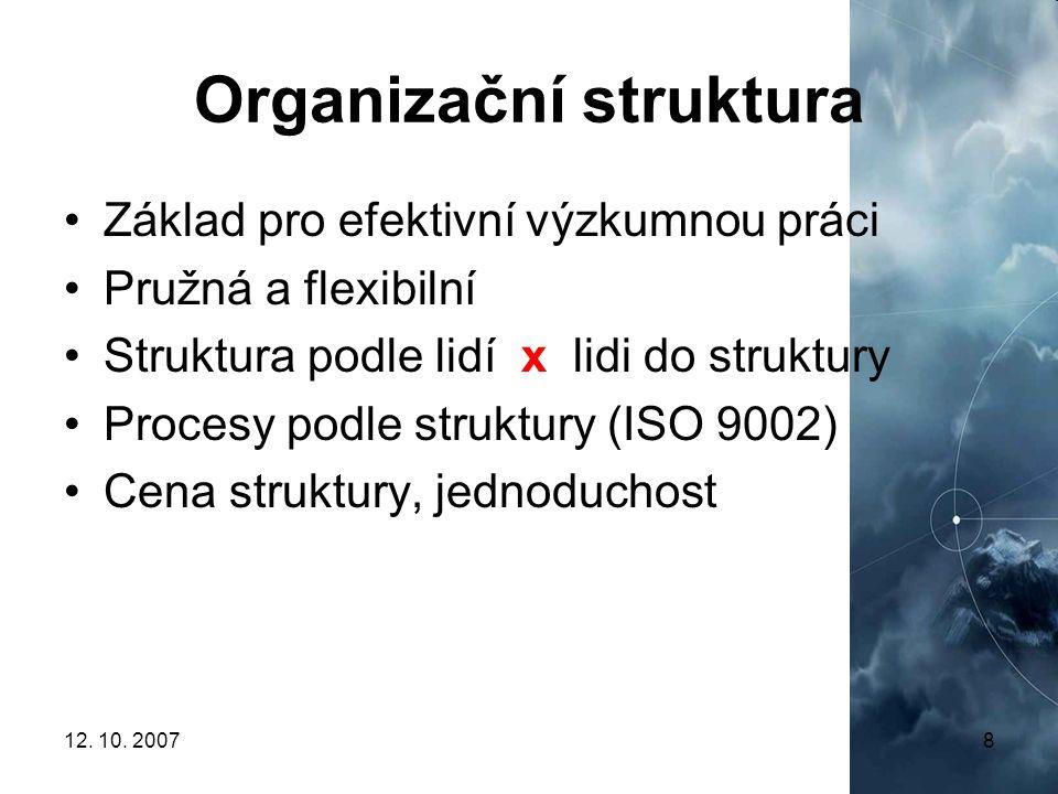 12. 10. 20078 Organizační struktura Základ pro efektivní výzkumnou práci Pružná a flexibilní Struktura podle lidí x lidi do struktury Procesy podle st