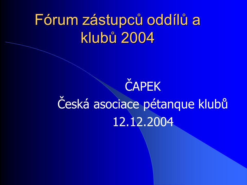 Fórum zástupců oddílů a klubů 2004 ČAPEK Česká asociace pétanque klubů 12.12.2004