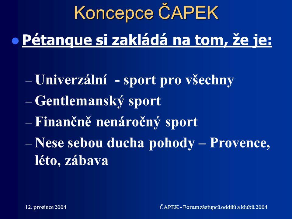 12. prosince 2004ČAPEK - Fórum zástupců oddílů a klubů 2004 Koncepce ČAPEK Pétanque si zakládá na tom, že je: – Univerzální - sport pro všechny – Gent