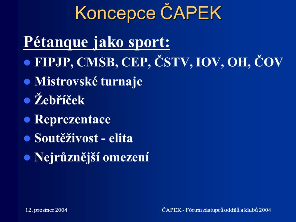 12. prosince 2004ČAPEK - Fórum zástupců oddílů a klubů 2004 Koncepce ČAPEK Pétanque jako sport: FIPJP, CMSB, CEP, ČSTV, IOV, OH, ČOV Mistrovské turnaj