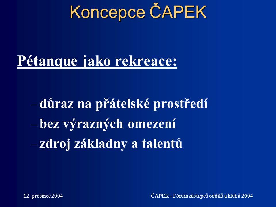 12. prosince 2004ČAPEK - Fórum zástupců oddílů a klubů 2004 Koncepce ČAPEK Pétanque jako rekreace: – důraz na přátelské prostředí – bez výrazných omez
