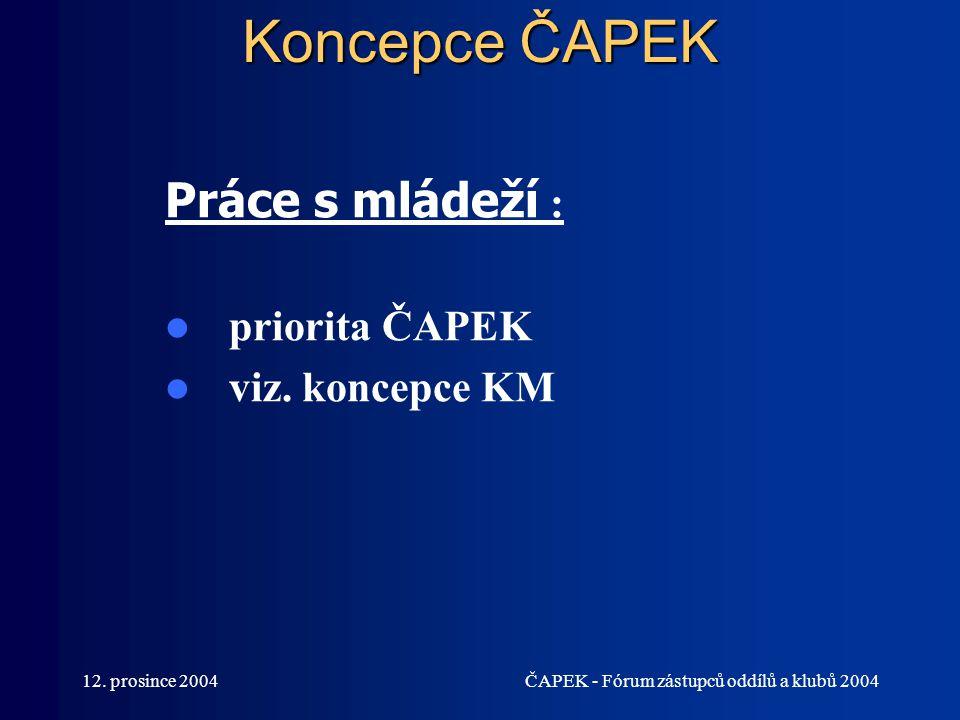 12. prosince 2004ČAPEK - Fórum zástupců oddílů a klubů 2004 Koncepce ČAPEK Práce s mládeží : priorita ČAPEK viz. koncepce KM