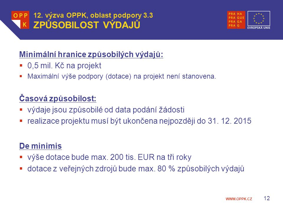 WWW.OPPK.CZ 12 12. výzva OPPK, oblast podpory 3.3 ZPŮSOBILOST VÝDAJŮ Minimální hranice způsobilých výdajů:  0,5 mil. Kč na projekt  Maximální výše p