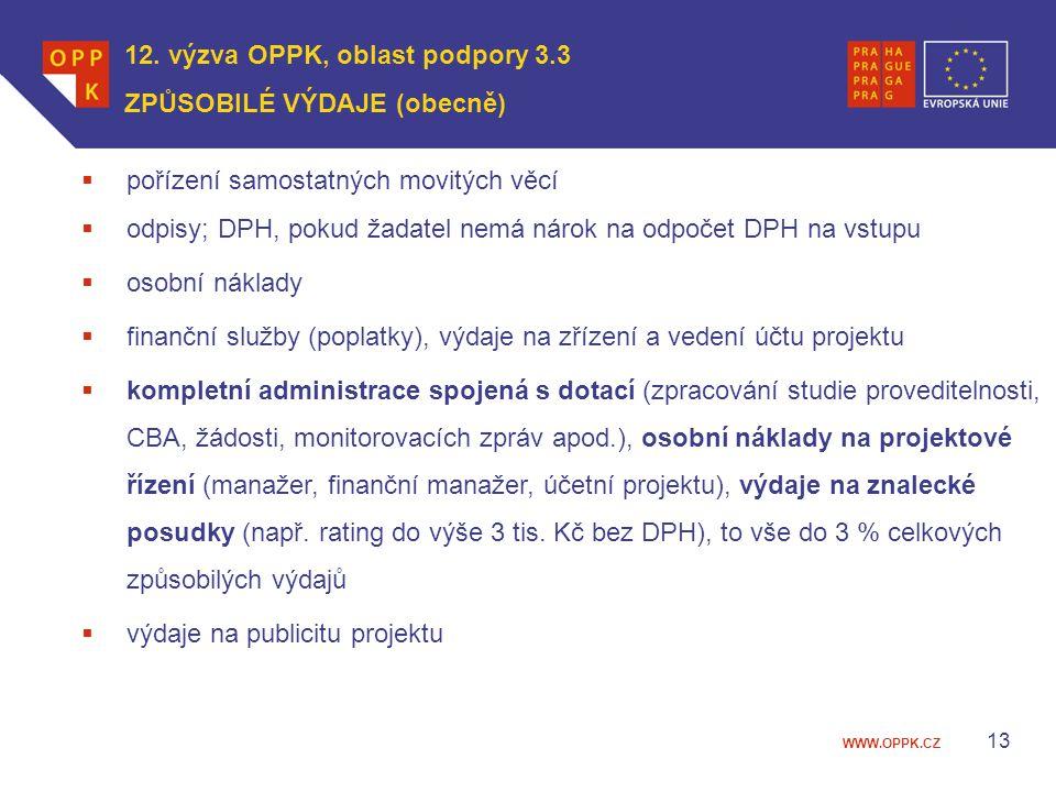 WWW.OPPK.CZ 12. výzva OPPK, oblast podpory 3.3 ZPŮSOBILÉ VÝDAJE (obecně)  pořízení samostatných movitých věcí  odpisy; DPH, pokud žadatel nemá nárok