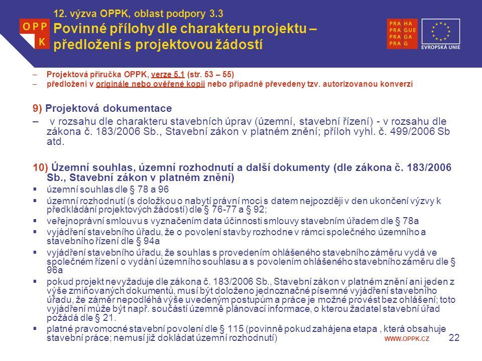 WWW.OPPK.CZ 12. výzva OPPK, oblast podpory 3.3 Povinné přílohy dle charakteru projektu – předložení s projektovou žádostí –Projektová příručka OPPK, v