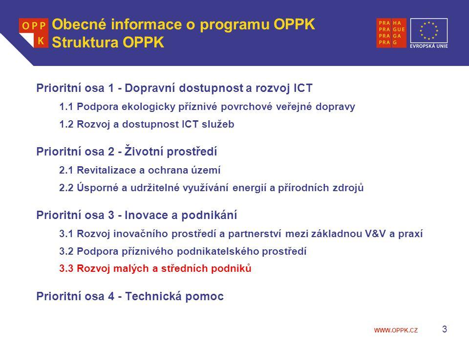 WWW.OPPK.CZ 3 Obecné informace o programu OPPK Struktura OPPK Prioritní osa 1 - Dopravní dostupnost a rozvoj ICT 1.1 Podpora ekologicky příznivé povrc