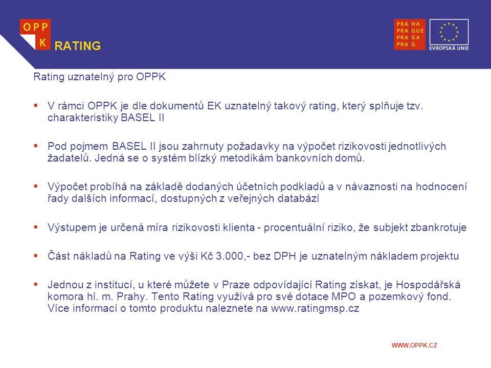 WWW.OPPK.CZ RATING Rating uznatelný pro OPPK  V rámci OPPK je dle dokumentů EK uznatelný takový rating, který splňuje tzv. charakteristiky BASEL II 