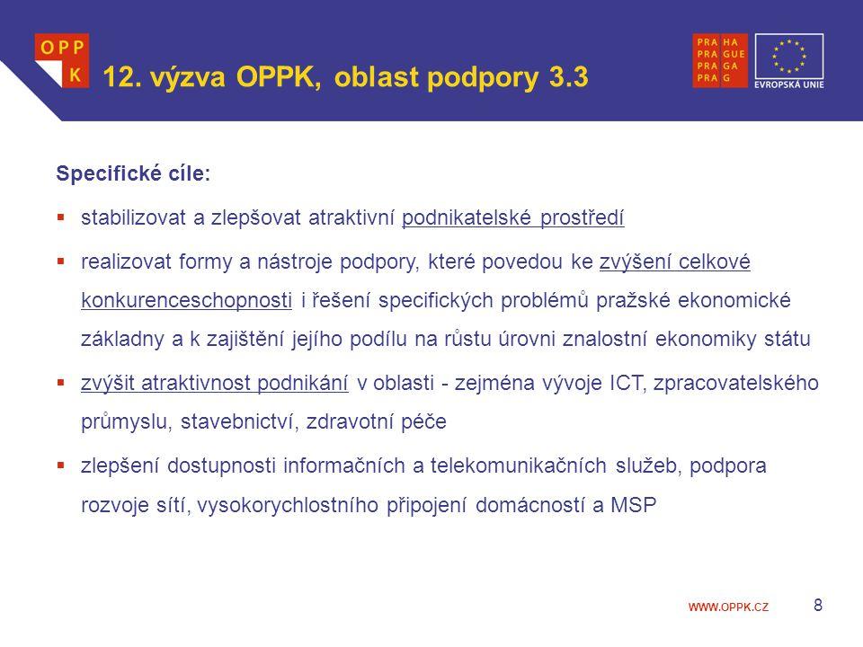 WWW.OPPK.CZ 8 12. výzva OPPK, oblast podpory 3.3 Specifické cíle:  stabilizovat a zlepšovat atraktivní podnikatelské prostředí  realizovat formy a n