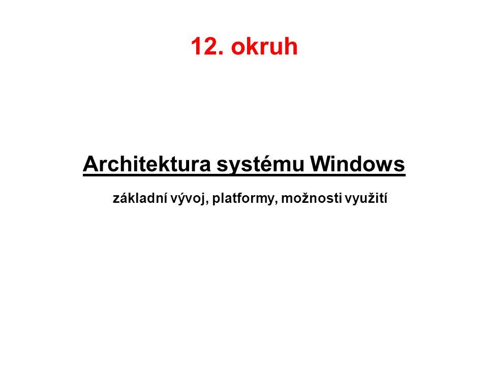 12. okruh Architektura systému Windows základní vývoj, platformy, možnosti využití
