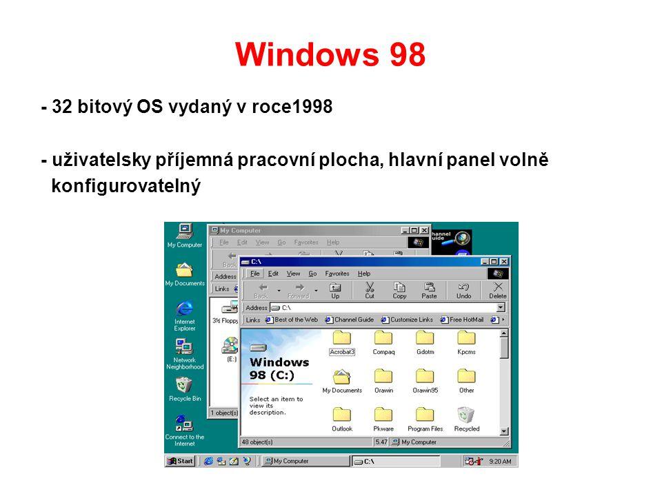 Windows 98 - 32 bitový OS vydaný v roce1998 - uživatelsky příjemná pracovní plocha, hlavní panel volně konfigurovatelný