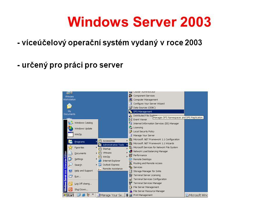 Windows Server 2003 - víceúčelový operační systém vydaný v roce 2003 - určený pro práci pro server