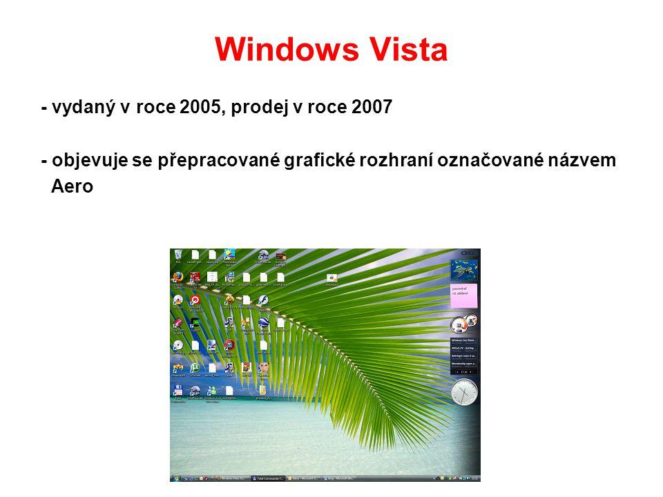 Windows Vista - vydaný v roce 2005, prodej v roce 2007 - objevuje se přepracované grafické rozhraní označované názvem Aero