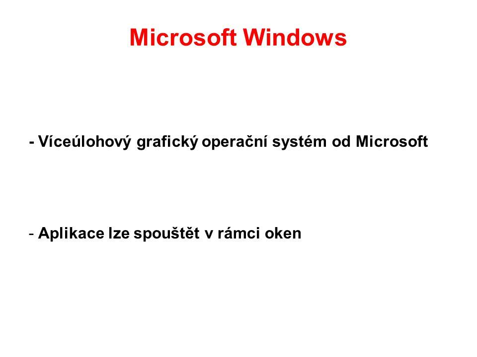 Microsoft Windows - Víceúlohový grafický operační systém od Microsoft - Aplikace lze spouštět v rámci oken