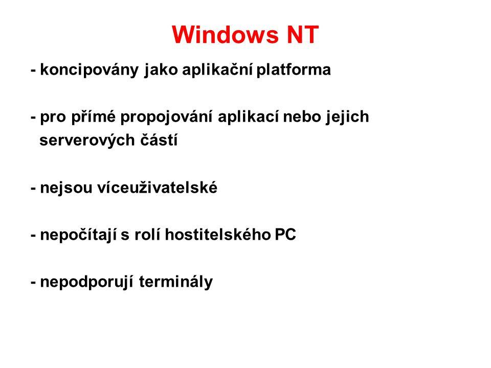 Windows NT - koncipovány jako aplikační platforma - pro přímé propojování aplikací nebo jejich serverových částí - nejsou víceuživatelské - nepočítají s rolí hostitelského PC - nepodporují terminály