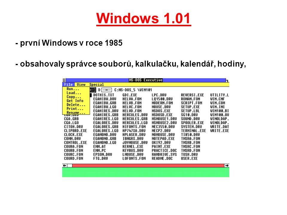 Windows 1.01 - první Windows v roce 1985 - obsahovaly správce souborů, kalkulačku, kalendář, hodiny,