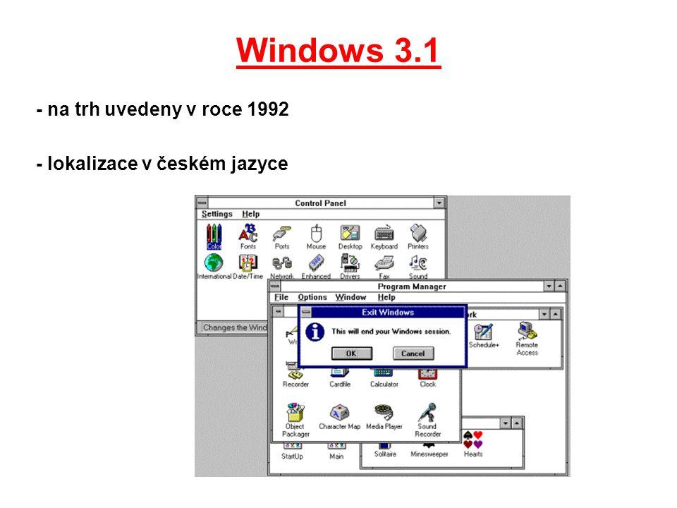 Windows 3.1 - na trh uvedeny v roce 1992 - lokalizace v českém jazyce