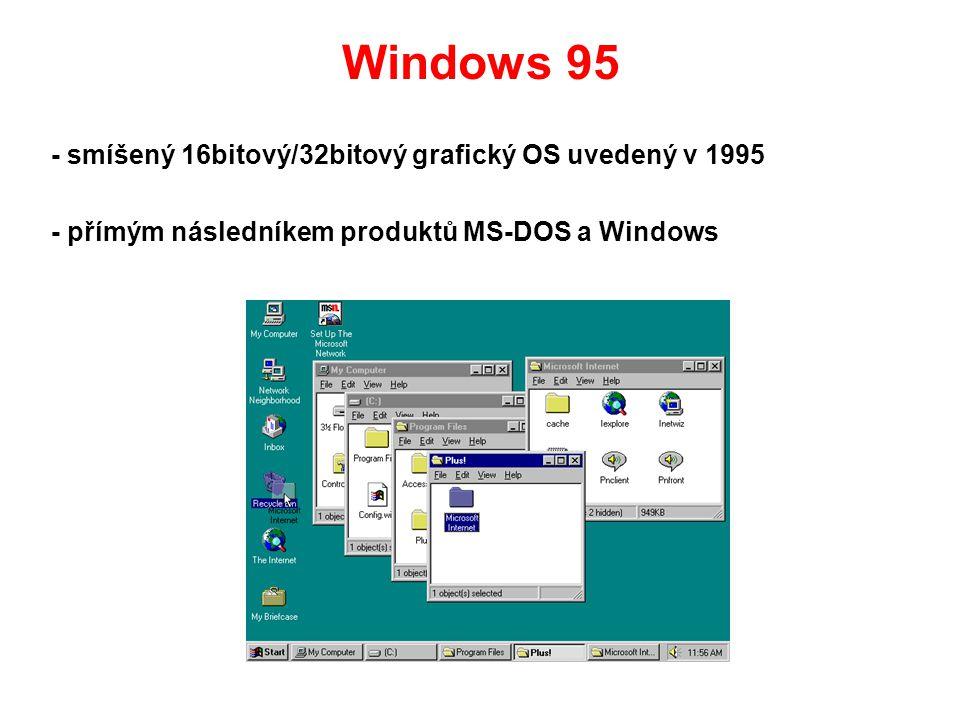 Windows 95 - smíšený 16bitový/32bitový grafický OS uvedený v 1995 - přímým následníkem produktů MS-DOS a Windows