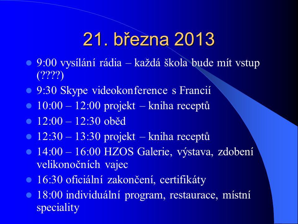 21. března 2013 9:00 vysílání rádia – každá škola bude mít vstup (????) 9:30 Skype videokonference s Francií 10:00 – 12:00 projekt – kniha receptů 12: