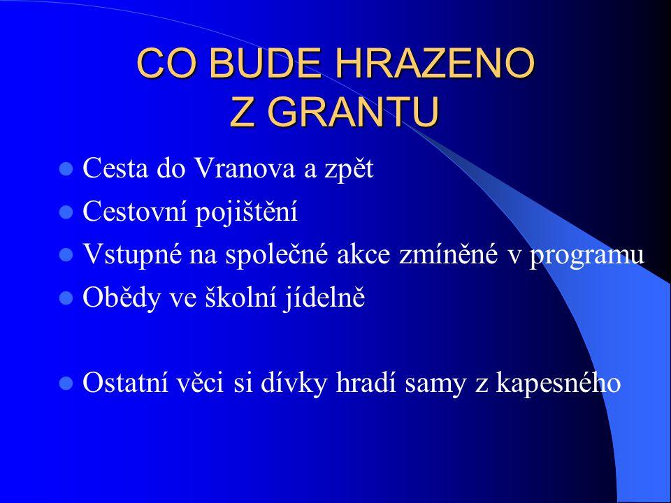 CO BUDE HRAZENO Z GRANTU Cesta do Vranova a zpět Cestovní pojištění Vstupné na společné akce zmíněné v programu Obědy ve školní jídelně Ostatní věci s