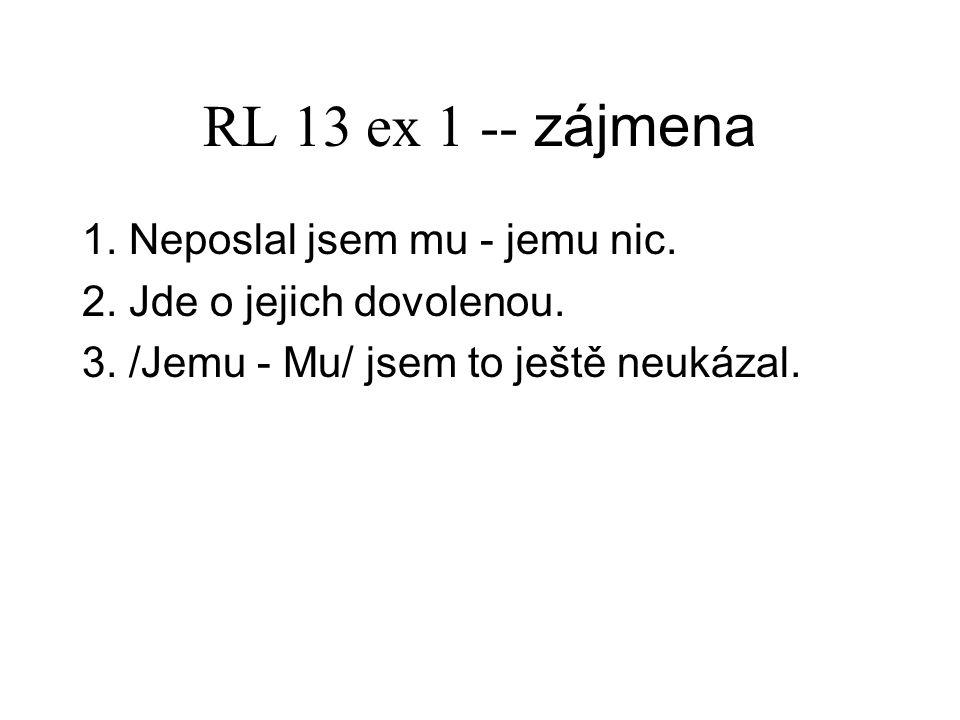 RL 13 ex 2 -- zájmena 1.Nerozumím mu. 2. Omlouvat se jim nebudu.