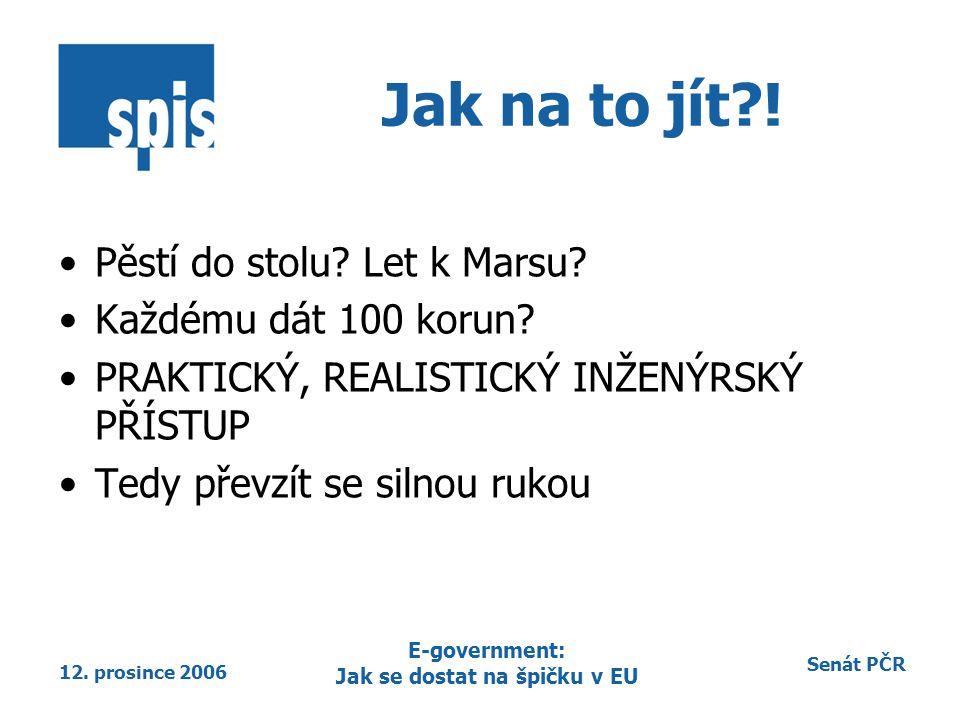 Senát PČR 12. prosince 2006 E-government: Jak se dostat na špičku v EU Jak na to jít?! Pěstí do stolu? Let k Marsu? Každému dát 100 korun? PRAKTICKÝ,