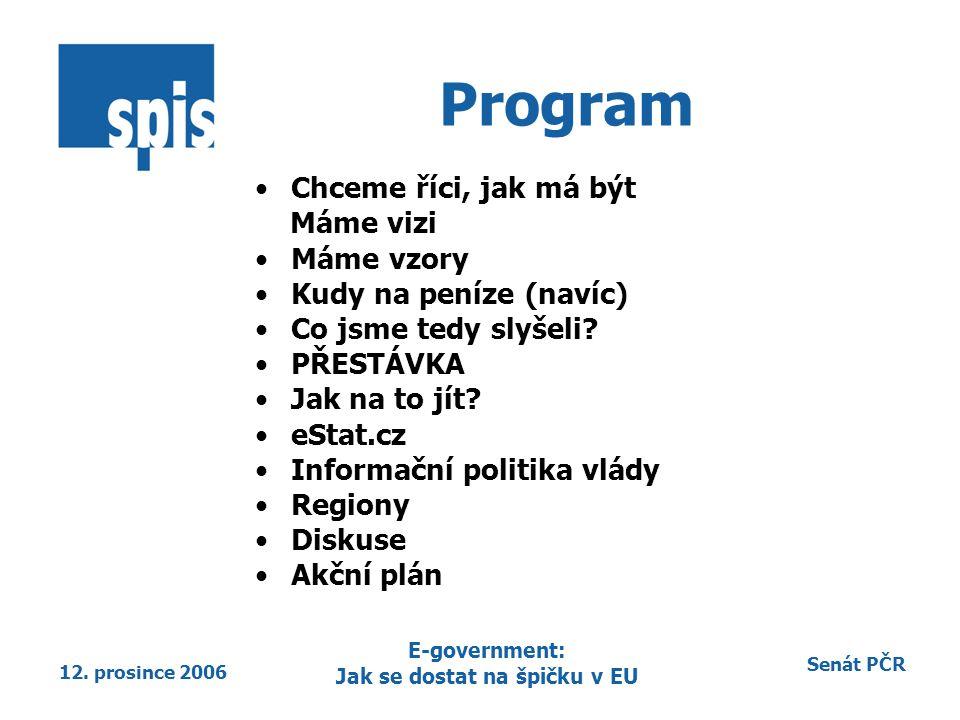 Senát PČR 12. prosince 2006 E-government: Jak se dostat na špičku v EU Program Chceme říci, jak má být Máme vizi Máme vzory Kudy na peníze (navíc) Co