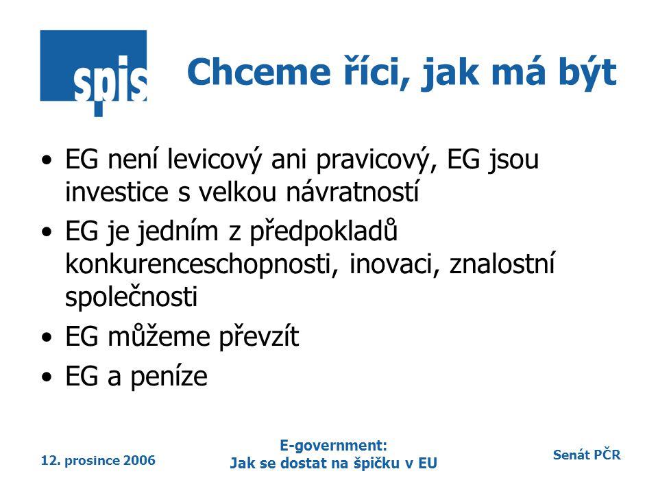 Senát PČR 12. prosince 2006 E-government: Jak se dostat na špičku v EU Chceme říci, jak má být EG není levicový ani pravicový, EG jsou investice s vel