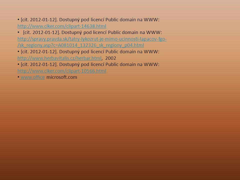 [cit. 2012-01-12]. Dostupný pod licencí Public domain na WWW: http://www.clker.com/clipart-14638.html http://www.clker.com/clipart-14638.html [cit. 20