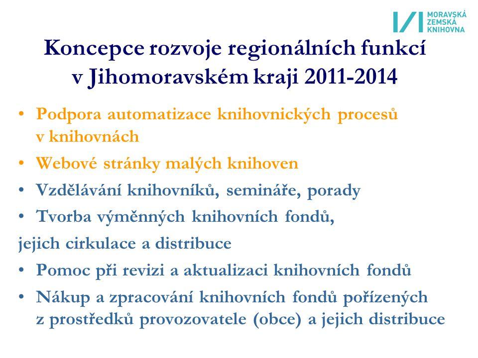Koncepce rozvoje regionálních funkcí v Jihomoravském kraji 2011-2014 Podpora automatizace knihovnických procesů v knihovnách Webové stránky malých knihoven Vzdělávání knihovníků, semináře, porady Tvorba výměnných knihovních fondů, jejich cirkulace a distribuce Pomoc při revizi a aktualizaci knihovních fondů Nákup a zpracování knihovních fondů pořízených z prostředků provozovatele (obce) a jejich distribuce