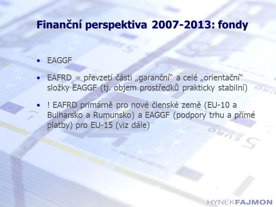 """Finanční perspektiva 2007-2013: fondy EAGGF EAFRD = převzetí části """"garanční"""" a celé """"orientační"""" složky EAGGF (tj. objem prostředků prakticky stabiln"""