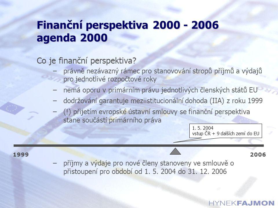 Finanční perspektiva 2000 - 2006 agenda 2000 Co je finanční perspektiva? –právně nezávazný rámec pro stanovování stropů příjmů a výdajů pro jednotlivé