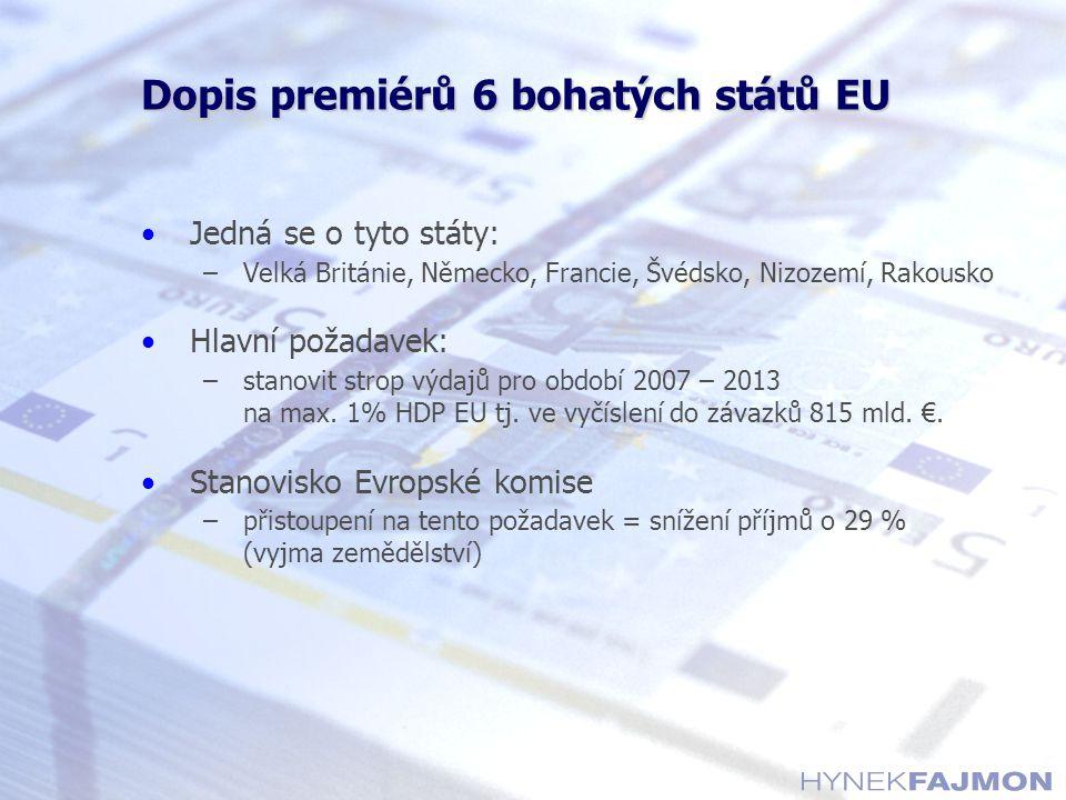 Dopis premiérů 6 bohatých států EU Jedná se o tyto státy: –Velká Británie, Německo, Francie, Švédsko, Nizozemí, Rakousko Hlavní požadavek: –stanovit strop výdajů pro období 2007 – 2013 na max.