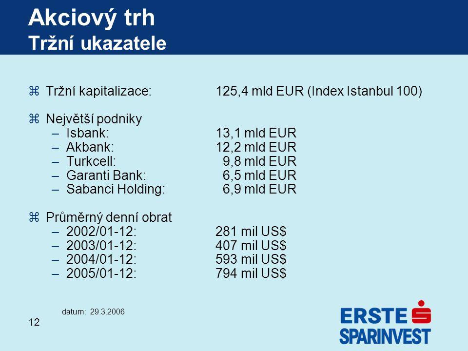 12 zTržní kapitalizace: 125,4 mld EUR (Index Istanbul 100) zNejvětší podniky –Isbank: 13,1 mld EUR –Akbank: 12,2 mld EUR –Turkcell: 9,8 mld EUR –Garan