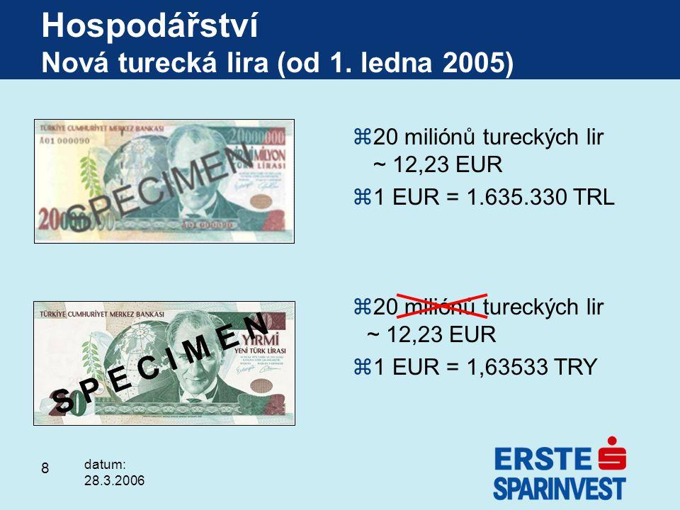 8 z20 miliónů tureckých lir ~ 12,23 EUR z1 EUR = 1.635.330 TRL z20 miliónů tureckých lir ~ 12,23 EUR z1 EUR = 1,63533 TRY Hospodářství Nová turecká li
