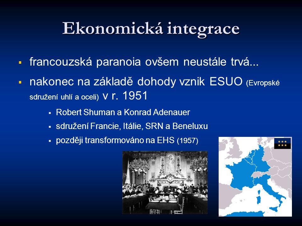 Ekonomická integrace   francouzská paranoia ovšem neustále trvá...   nakonec na základě dohody vznik ESUO (Evropské sdružení uhlí a oceli) v r. 19