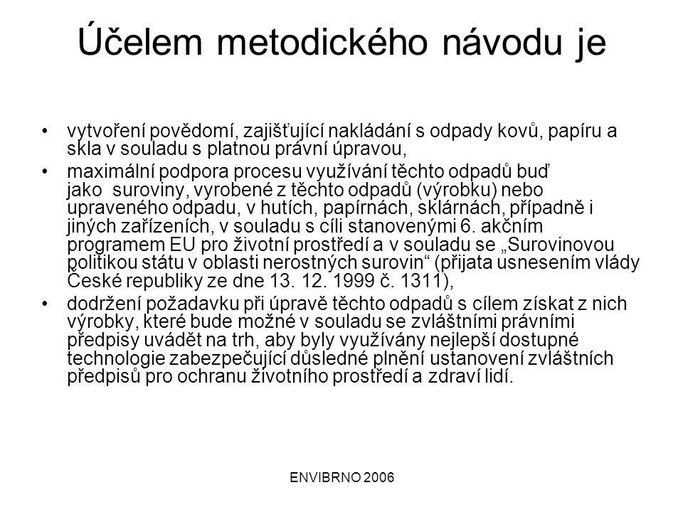 ENVIBRNO 2006 Průvodní dokumentace výrobku, by měla popisovat: a) vlastnosti výrobku a jeho složení (např.