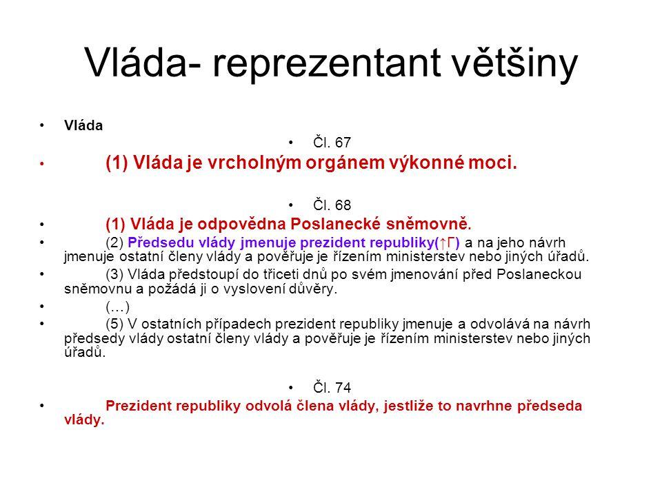Vláda- reprezentant většiny Vláda Čl. 67 (1) Vláda je vrcholným orgánem výkonné moci.