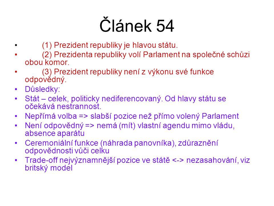 Článek 54 (1) Prezident republiky je hlavou státu.