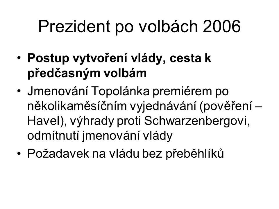 Prezident po volbách 2006 Postup vytvoření vlády, cesta k předčasným volbám Jmenování Topolánka premiérem po několikaměsíčním vyjednávání (pověření – Havel), výhrady proti Schwarzenbergovi, odmítnutí jmenování vlády Požadavek na vládu bez přeběhlíků