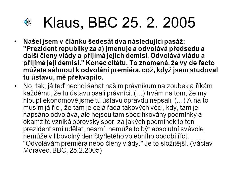 Klaus, BBC 25.2. 2005 Čl.