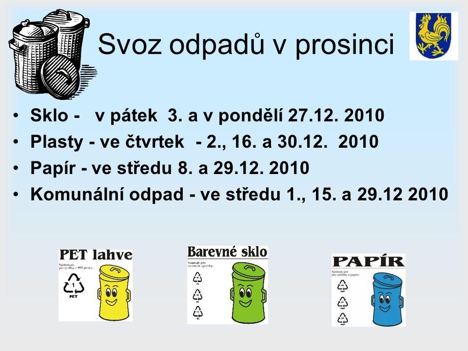 Svoz odpadů v prosinci Sklo - v pátek 3. a v pondělí 27.12. 2010 Plasty - ve čtvrtek - 2., 16. a 30.12. 2010 Papír - ve středu 8. a 29.12. 2010 Komuná