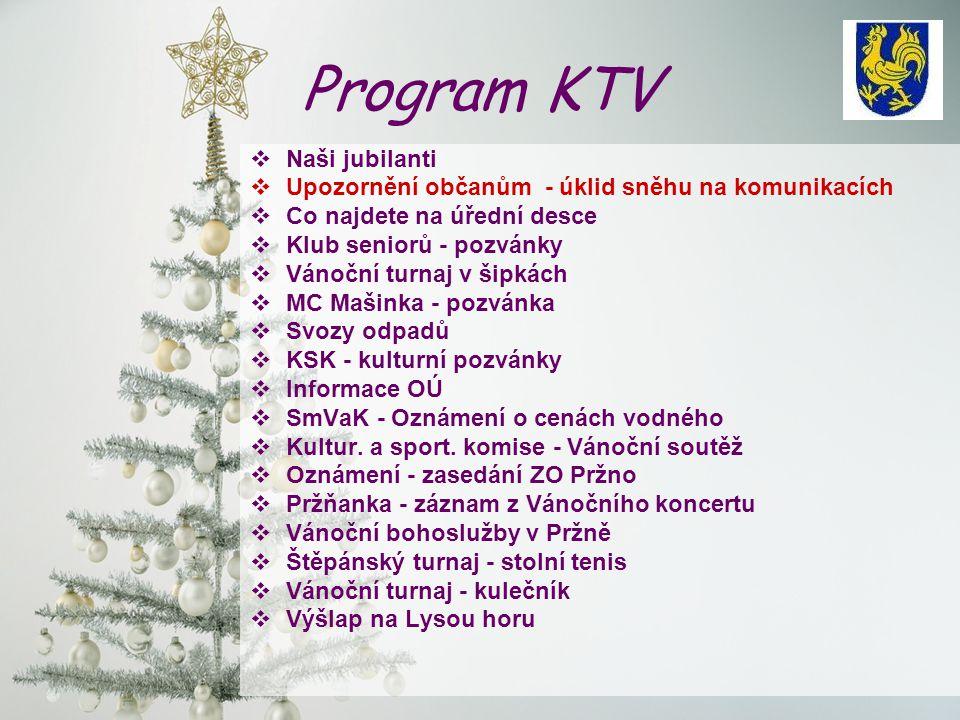 Program KTV  Naši jubilanti  Upozornění občanům - úklid sněhu na komunikacích  Co najdete na úřední desce  Klub seniorů - pozvánky  Vánoční turna