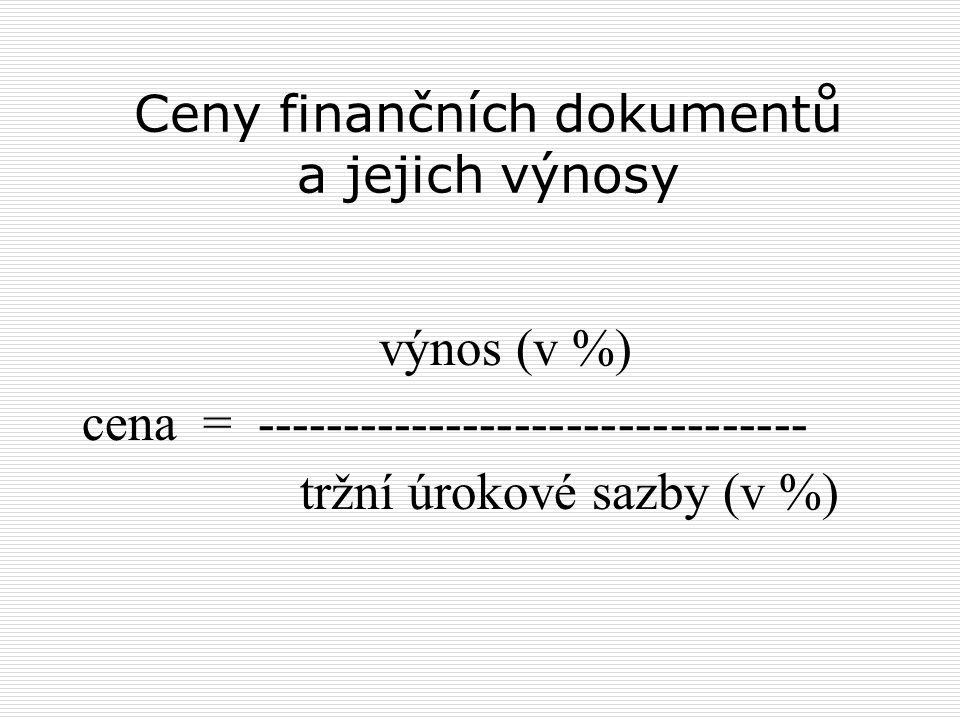Ceny finančních dokumentů a jejich výnosy výnos (v %) cena = -------------------------------- tržní úrokové sazby (v %)