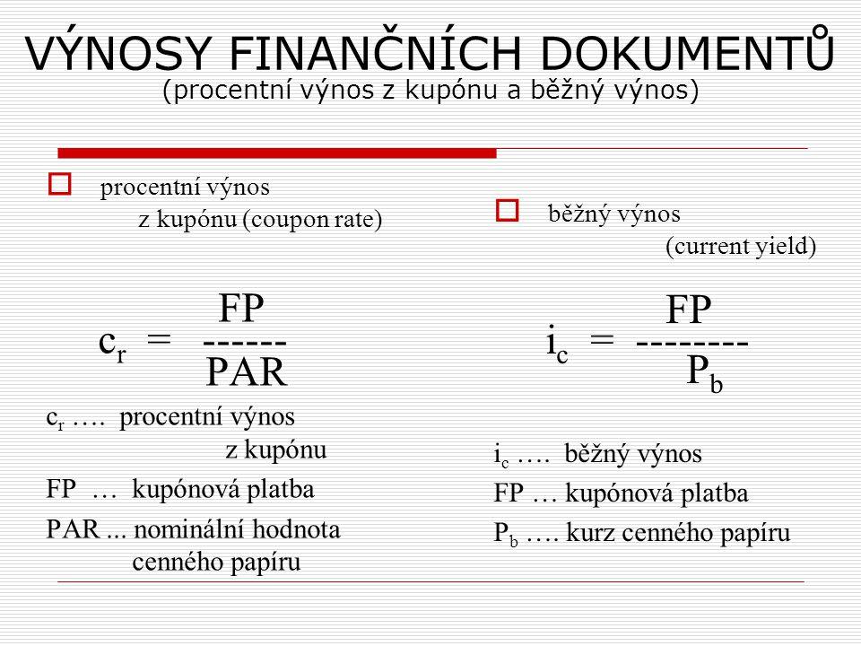 VÝNOSY FINANČNÍCH DOKUMENTŮ (procentní výnos z kupónu a běžný výnos)  procentní výnos z kupónu (coupon rate) FP c r = ------ PAR c r ….