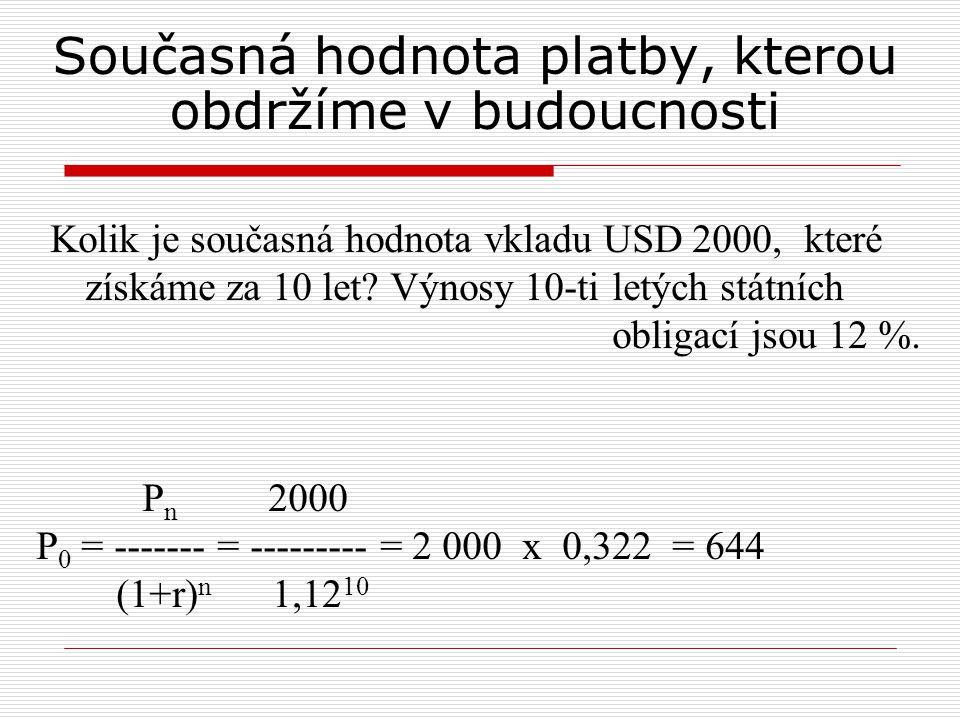 Současná hodnota platby, kterou obdržíme v budoucnosti Kolik je současná hodnota vkladu USD 2000, které získáme za 10 let.