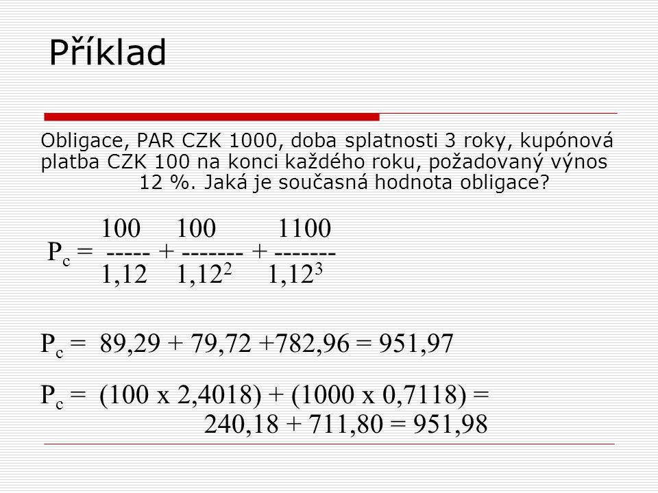 Příklad Obligace, PAR CZK 1000, doba splatnosti 3 roky, kupónová platba CZK 100 na konci každého roku, požadovaný výnos 12 %. Jaká je současná hodnota
