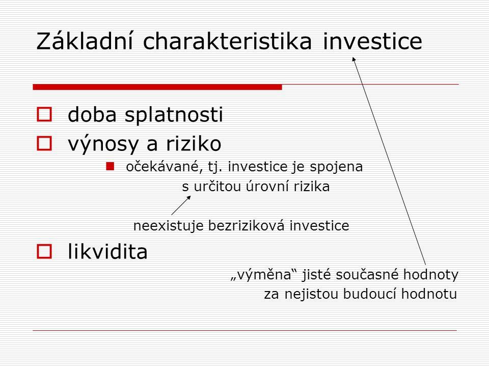 Základní charakteristika investice  doba splatnosti  výnosy a riziko očekávané, tj. investice je spojena s určitou úrovní rizika neexistuje bezrizik