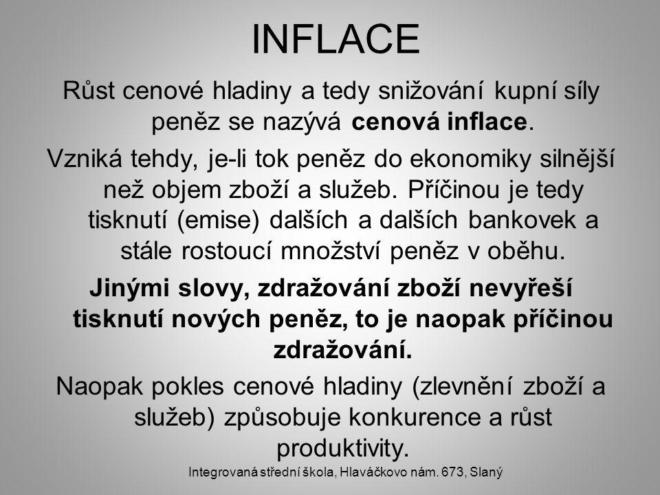 INFLACE Růst cenové hladiny a tedy snižování kupní síly peněz se nazývá cenová inflace. Vzniká tehdy, je-li tok peněz do ekonomiky silnější než objem