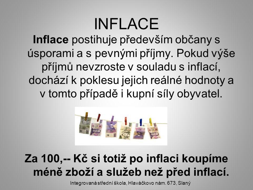 INFLACE Inflace postihuje především občany s úsporami a s pevnými příjmy. Pokud výše příjmů nevzroste v souladu s inflací, dochází k poklesu jejich re