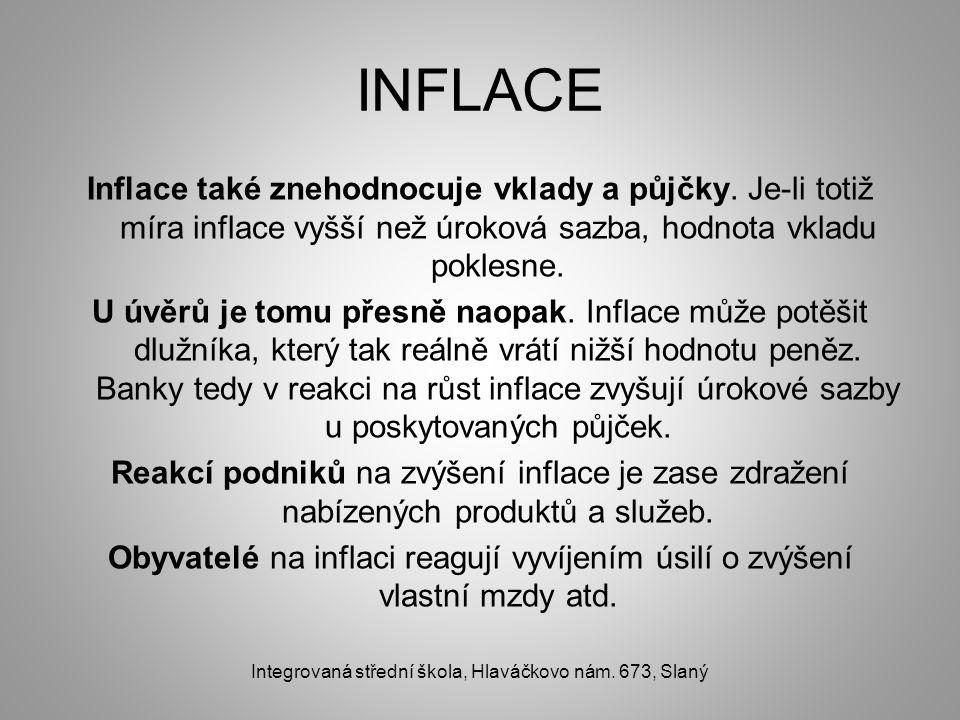 INFLACE Inflace také znehodnocuje vklady a půjčky. Je-li totiž míra inflace vyšší než úroková sazba, hodnota vkladu poklesne. U úvěrů je tomu přesně n